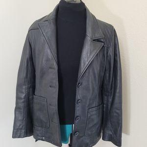 Express Leather Vintage 90s Jacket Black Belted S